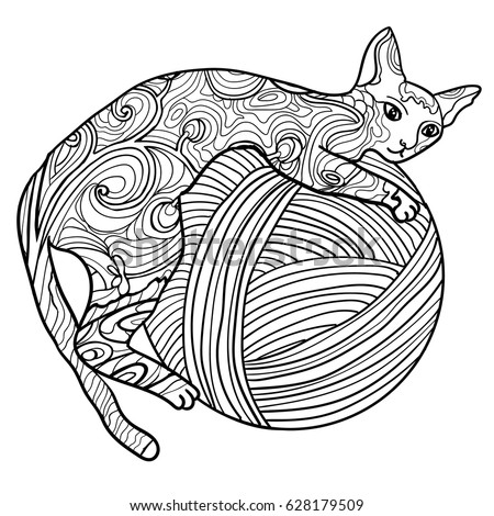 Beautiful Kitten Vector Illustration Cat Lies And Playing With Thread Doodle Coloring