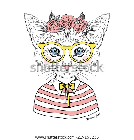 beautiful  kitty girl hipster in glasses and rose garland isolated on white - stock vector