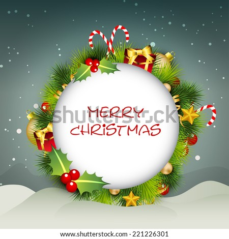 Beautiful label decorated with colourful gift boxes, holy berries, candy cane, golden balls, stars and fir trees in night background for Merry Christmas celebrations.  - stock vector