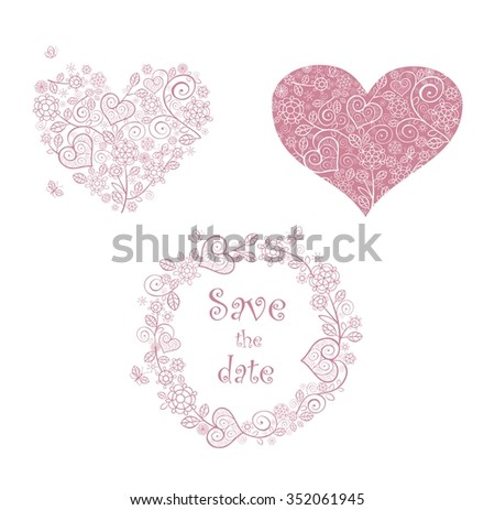 Beautiful lacy floral hearts shape and frame - stock vector