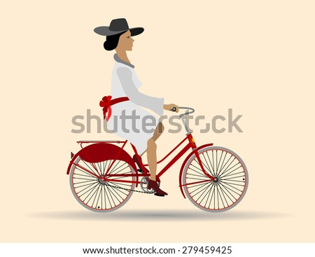Beautiful lady on a red bike Beautiful lady in a white dress with a red bow and hat riding a bicycle - stock vector