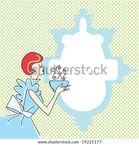 beautiful lady with soup - copyspace - stock vector