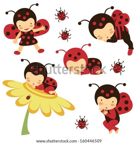 Beautiful ladybug babies collection - stock vector