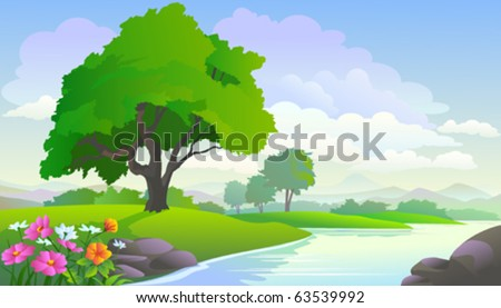 BEAUTIFUL LAKE VIEW AND TREES - stock vector