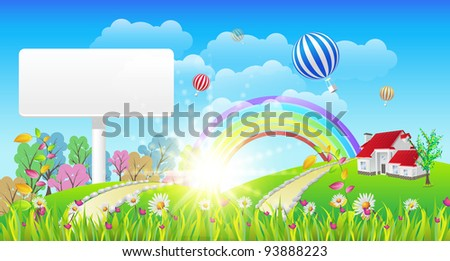 Beautiful Landscape and Rainbow Signboard - Vector Illustration - stock vector