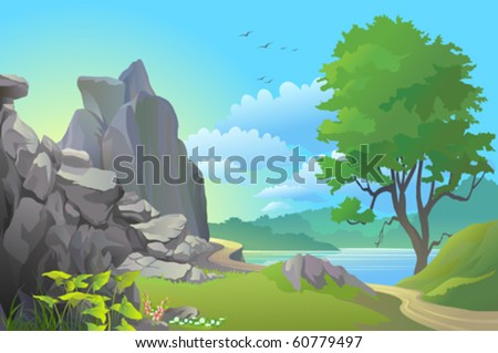 BEAUTIFUL LANDSCAPE OF PATHWAY BY ROCKY HILLS AND A LAKE - stock vector