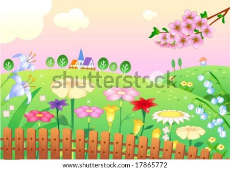 Beautiful Landscape - rural flower garden with pretty pink sky and green grass