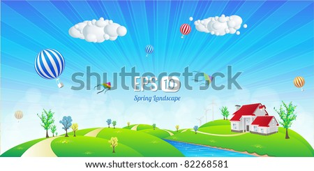 Beautiful Landscape - Vector Illustration - stock vector