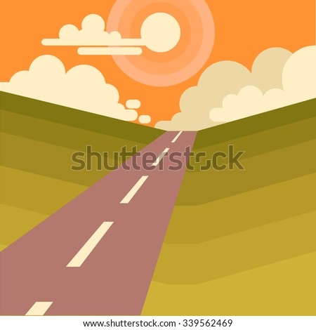 Beautiful Landscape with Sun And Mountains.  Flat Style Illustration of road and sun