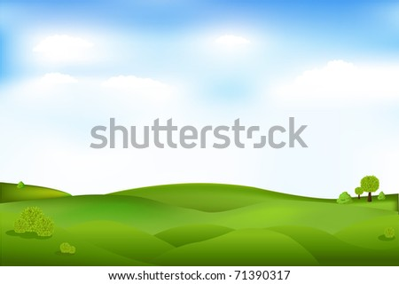 Beautiful Landscape With Trees And Clouds In Sky, Vector Illustration - stock vector