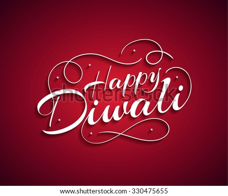 Beautiful lettering calligraphic white text. Calligraphy inscription Happy Diwali festival India on a red background. Vector illustration EPS 10 - stock vector