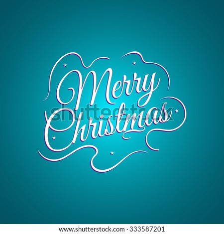 Beautiful lettering calligraphy elegant white text Design. Calligraphy inscription Merry Christmas on a blue background. Vector illustration EPS 10 - stock vector
