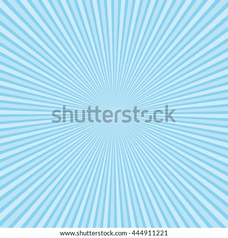 Beautiful light blue sunburst vector background. - stock vector