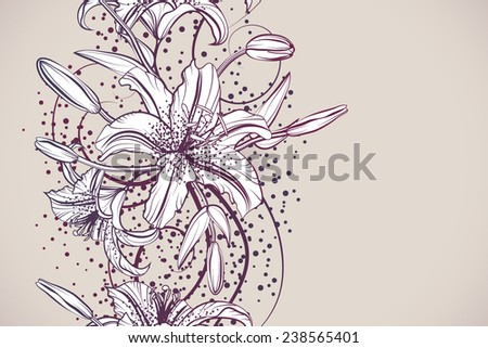 Beautiful lily seamless background drawn with light lines - stock vector