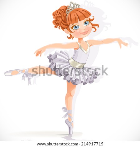 Beautiful little ballerina girl in white dress isolated on a white background - stock vector