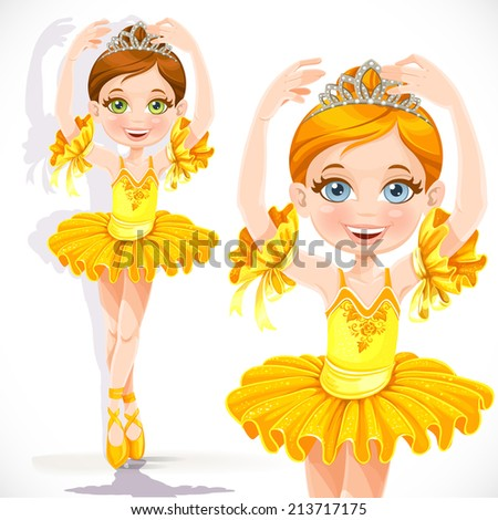 Beautiful little ballerina girl in yellow dress and tiara isolated on a white background - stock vector