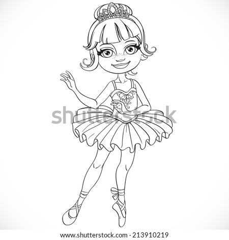 Beautiful little ballerina girl tiara outlined - stock vector