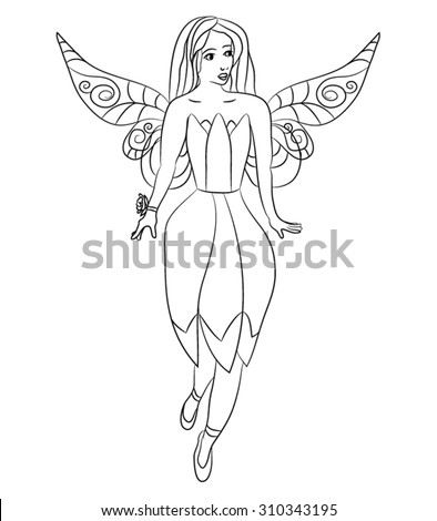 Beautiful little fairy - coloring page for kids - stock vector