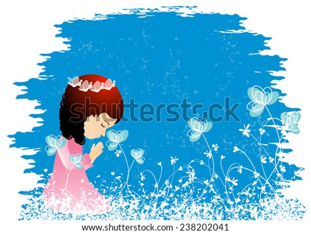 Beautiful little girl kneeling and praying peacefully-Vector illustration - stock vector