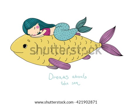 Beautiful little mermaid and big fish.Hand drawn vector illustration on a white background.  - stock vector