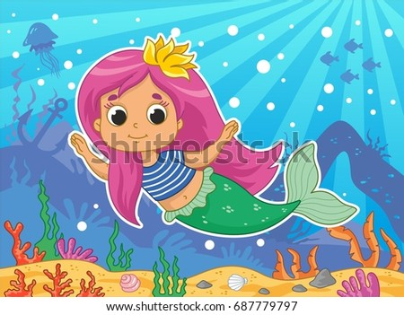 beautiful little mermaid vector illustration kids stock vector 2018 687779797 shutterstock - Mermaid Pictures For Kids