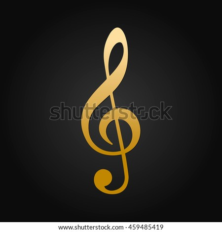Beautiful Logo Treble Clef Gold Vector Design