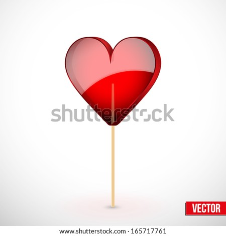 Beautiful lollipop with heart-shaped. Happy Valentines Day Card. Vector illustration. Editable and isolated. Love theme. - stock vector