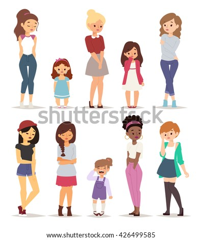 Beautiful lonely sad girl and different sad girl teens vector set. Sad girl alone pretty and sad girl depression face unhappy lonely teenager. Sad teenage girl with crossed arms, lonely expression. - stock vector