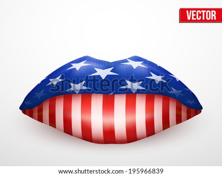 Beautiful luscious lips U.S. flag texture. Vector Illustration. Isolated on white - stock vector