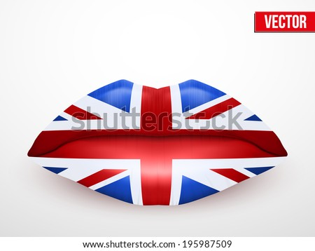 Beautiful luscious lips with flag of Great Britain texture. Vector Illustration. Isolated on white - stock vector