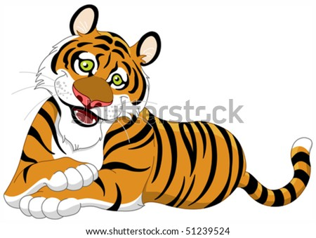 Beautiful lying tiger - stock vector