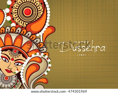 Beautiful Maa Durga Face with Stylish text on shiny background for the celebration of Durga  Pooja or Shubh Dusshera.