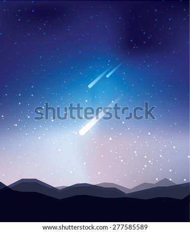 beautiful majestic abstract universe night sky wallpaper background with stars and meteor shower celestial event - stock vector