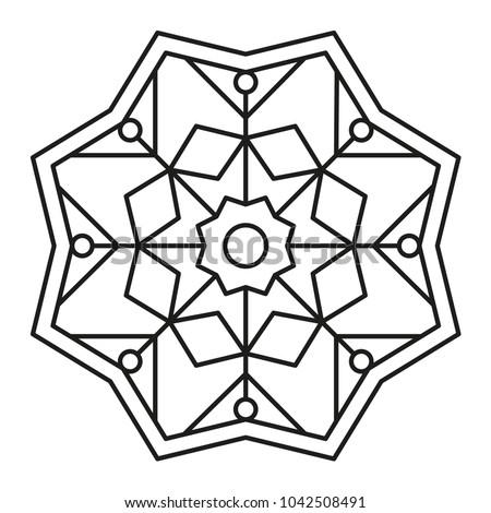 Beautiful Mandala Shape Coloring Vector Mandala Vector de stock ...