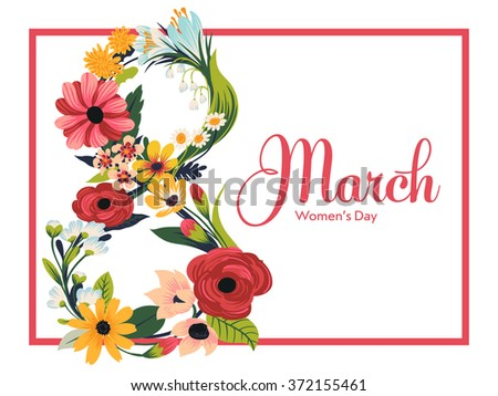 Beautiful 8 March Women's Day concept layout with retro feel featuring lovely floral composition in shape of 8 and sample text