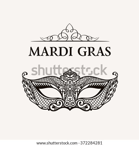 Beautiful mask of lace. Mardi Gras vector background. Gold and black masquerade mask. Venetian carnival mask. Vintage unique luxury quality pattern - stock vector