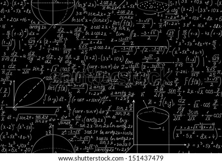 Beautiful mathematical seamless pattern with algebra equations, figures and plots. You can use any color of background.  - stock vector