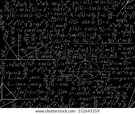 Beautiful mathematical seamless pattern with equations, plots and geometrical figures. You can use any color of background.  - stock vector