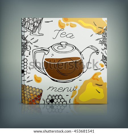 Beautiful Menu concept for an eating house, restaurant, coffee-room, tea-house, tea-room, tea-shop, cafe or roastery. Editable vector illustration based on a hand drawn elements. - stock vector