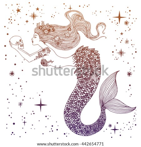 Beautiful mermaid with human skull in her hands hand drawn illustration. Sea, fantasy, spirituality, mythology, tattoo art, coloring books. Isolated vector illustration. - stock vector