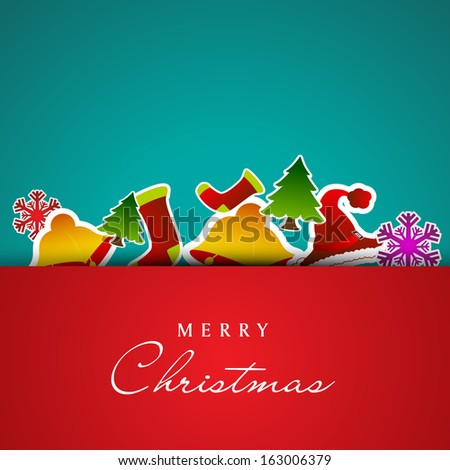 Beautiful Merry Christmas celebration greeting card with ornaments on green and red background.