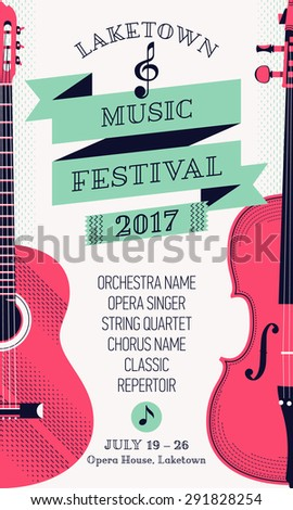 Beautiful Modern Classical Music Festival Poster Or Flyer Template With Violin And Guitar Ideal For