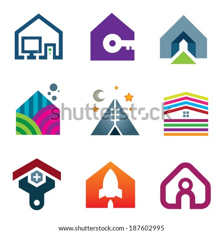 Beautiful modern house creative ideas construction of future logo icon set - stock vector