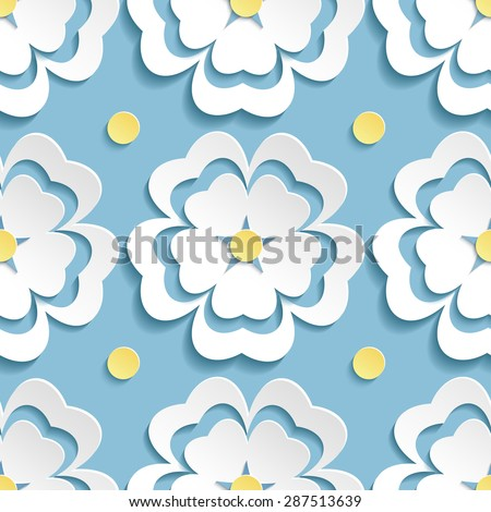 Beautiful modern nature background seamless pattern with white ornate 3d flower sakura - japanese cherry tree and yellow circles. Floral stylish trendy wallpaper. Greeting or invitation card, vector - stock vector