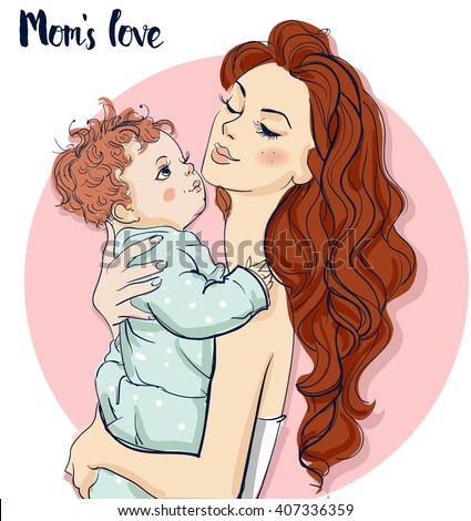 beautiful mom with child - stock vector