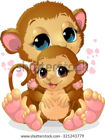 beautiful monkey that holds her baby in her arms - stock vector
