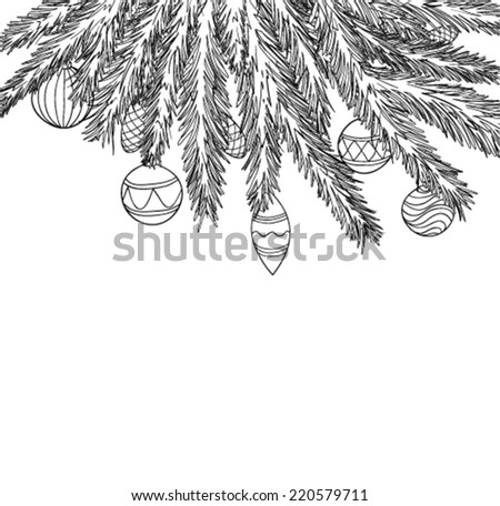 Beautiful  monochrome, black and white Christmas Balls Hanging on a Christmas tree branch.  - stock vector