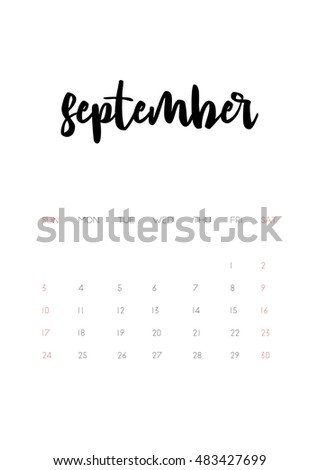 Beautiful monthly Calendar for 2017 Year. Printable and ready to use design template. Stylish monochrome stationery design. Week starts from Sunday. Vector calendar - September 2017