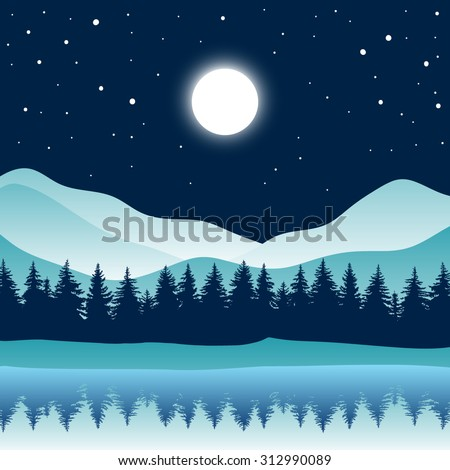 Beautiful moonlit night in wooded mountains above the river which reflected trees. Mountains, coniferous forest, sky, moon, stars. Abstract vector background.