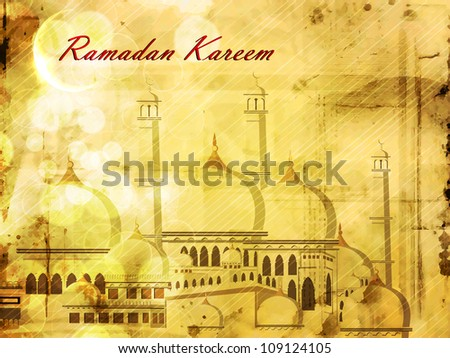 Beautiful Mosque and Masjid background for Ramadan Kareem or Ramazan Kareem. EPS 10. - stock vector